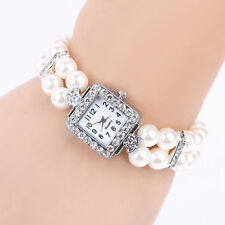 Metal Pearl Crystal Bracelet Bangle Stretch Square Dial Wristwatch Wrist Watch