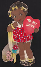 "1938 Black Americana Valentines Day 9"" greeting card w/fabric skirt by Hallmark"