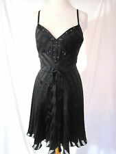 BETSEY JOHNSON Evening Party Cocktail Beads Dress Black Silk Bow Size 6