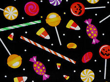"22"" REMNANT  HALLOWEEN  PUMPKIN CANDIES SUCKERS SWEET TREATS  100% COTTON FABRIC"