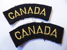 pair CANADIAN Armed Forces CANADA embroidered NAVY shoulder titles badges B