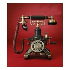 Desk Black Vintage Telephone Retro Rotary Plate Antique Style Phone Cord Parlour