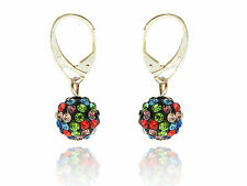 Shamballa Disco Balls Black and Colourful Crystal Drop Earrings E433