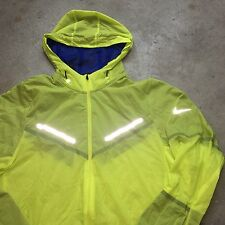 NIKE RUNNING S Hooded VOLT 3M Reflective Windbreaker Jacket NEON Vapor Lab Shell