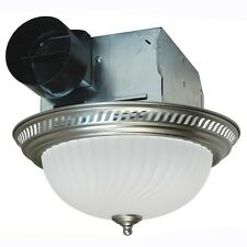 Bathroom Shower Decorative Nickel 70 CFM Ceiling Exhaust Fan with Frosted Light