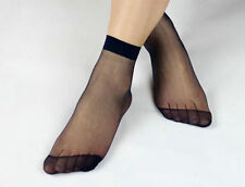 Black White Red Blue Pink Nude Sheer Stretchy Ankle Socks Sexy Lingerie P202