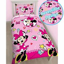 MINNIE MOUSE STYLE PINK SINGLE REVERSIBLE DUVET COVER SET OFFICIAL BEDDING NEW