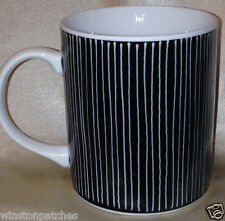 TOSCANY COLLECTION JAPAN DOMINO MUG 12 OZ BLACK & WHITE VERTICAL LINES