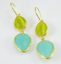 OttomanGems semi precious gemstone earrings gold Chalcedony Cat eye handmade