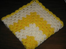 HANDMADE CROCHETED PREEMIE BABY BLANKET - BRIGHT YELLOW & SOFT WHITE - BOY GIRL