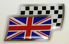 Union Jack / Flag Resin Domed Chequered Decal / Gel Sticker #Design 1