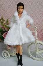 White Lovely Fashion Winter Coats Clothes/Outfit+Boots For Barbie Doll C001