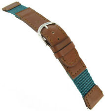 16mm Speidel Express Tan Brown & Aqua Green Stitched Swiss Army Style Watch Band