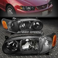 BLACK HOUSING CLEAR HEADLIGHT+AMBER CORNER LIGHT FOR 01-02 TOYOTA COROLLA E120
