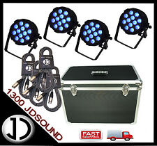 4x Event Lighting PARRGBW12X8 LED Flat Par lights 12 x 8W RGBW +Case + Cables