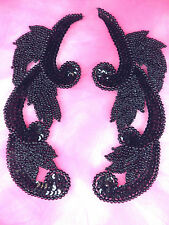 0070 Black Mirror Pair Sequin Beaded Appliques 7""
