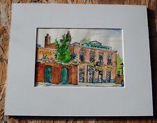 """London, England, original watercolor by June Lyman,USA.Custom mat,8x5.5"""" + mat"""