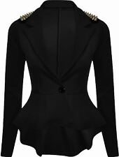 NEW WOMENS LADIES PEPLUM RUFFLE SPIKE STUDDED TAILORED BLAZER JACKET TOP 8-16