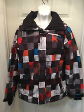 QuikSilver Men's 10K Checkered Mission Snowboard Jacket / Multi-Colored / Small