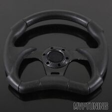 Universal 320mm Black PVC Leather Combat Jet Style 6-Bolt Racing Steering Wheel