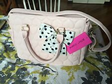 NWT Betsey Johnson Quilted Hearts Be Mine Satchel Blush Pink NEW