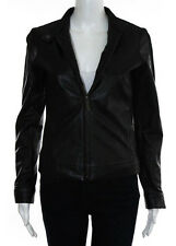NICOLE MILLER OUTERWEAR Black Leather Long Sleeve Zip Up Jacket Sz XS