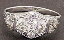 Antique 14K WG 1.88CT diamond cluster cocktail ring w/ 2 X .60CT ctrs. size 8.25