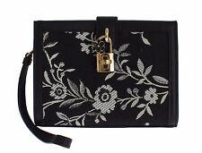 NEW $800 DOLCE & GABBANA Bag Purse White Floral Jacquard Wristlet Clutch CARMEN