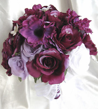 Wedding Bouquet Bridal Silk flowers PURPLE PLUM LAVENDER WHITE 17pc bouquets