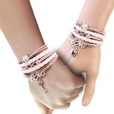 Silver Plated Double Key Infinity Pink Love Leather Cord Charms Two Bracelets 8""