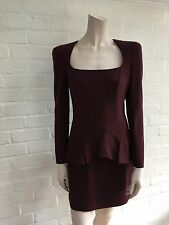 $3650 Alexander Mcqueen Trompe Loeil Peplum Wool Crepe Dress 40 US 4 UK 8