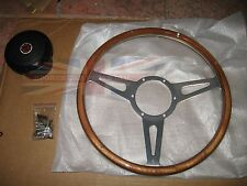 "New 14"" Wood Steering Wheel and Adaptor for MGB 1963-1967 MG Midget 1964-1967"