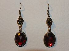VICTORIAN STYLE BRIGHT RED ACRYLIC CRYSTAL DARK GOLD PLATED ROSE EARRINGS HOOK