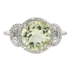 14K WHITE GOLD PAVE DIAMOND GREEN AMETHYST ROUND ENGAGEMENT HALO RING