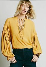 Free People Lace Up Extreme Sleeve Neck Tie Tunic Blouse Mustard Yellow M
