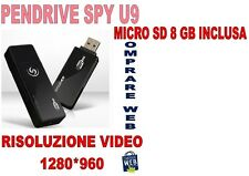 PENDRIVE SPIA U9 + SD 8GB NASCOSTA 1280x960 PEN USB VIDEO SENSORE MOVIMENTO CW45