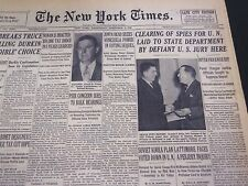 1952 DEC 3 NEW YORK TIMES - CLEARING OF SPIES FOR U. N. LAID TO STATE  - NT 4550