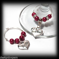 Beautiful Wine red  wedding wine glass charms for top table or favours. decor