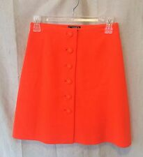 VINTAGE GIANNI VERSACE COUTURE NEON ORANGE WOOL BUTTON DOWN A LINE SKIRT SIZE 40