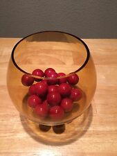 Crate & Barrel Candle Holder Fish Bowl Pot Mimi Amber with Red Marbles Balls