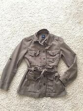 GAP Women's Utility Military Jacket Belted Olive Green S P khaki tan safari