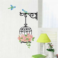 DIY Removable Art Vinyl Rose Bird Cage Wall Decal Sticker Home Room Decorations