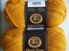 Lion Brand Wool-Ease wool blend yarn, Gold, lot of 2 (197 yds each)