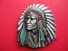 NEW INDIAN CHIEF HEAD HEADDRESS APACHE BELT BUCKLE