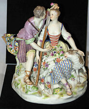 "Antique Meissen Porcelain Figurine Hand Painted ""Courting Shepherds"""