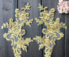 Bridal Lace Applique Floral Corded Wedding Motif Ivory Lace Applique Trim 1 Pair