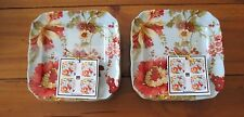 222 Fifth Spring Botanical 8 Appetizer Dessert Plates NWT Multi-Color