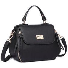 Ladies Fashion Satchel Designer PU Leather Girl Shoulder Tote Bag Black