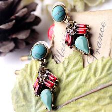 Vintage Style Boho Natural Waterdrop Turquoise Dangle Crystal Ear Stud Earrings