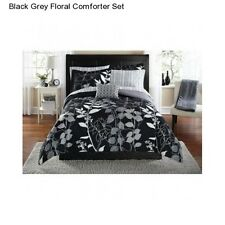 Black Grey Floral Full Size Comforter Set Bedding Bedspread Sheets Bed In a Bag
